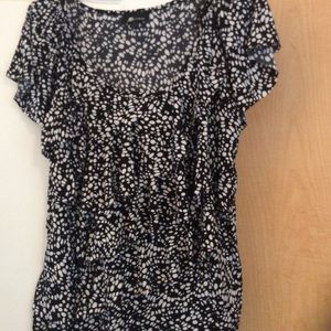 Black/White color printed layered women top XL
